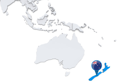oceania: Highlighted New Zealand on map of Oceania with national flag Stock Photo