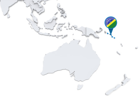 oceania: Highlighted Solomon Islands on map of Oceania with national flag Stock Photo
