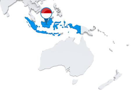 oceania: Highlighted Indonesia on map of Oceania with national flag Stock Photo