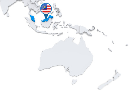 oceania: Highlighted Malaysia on map of Oceania with national flag