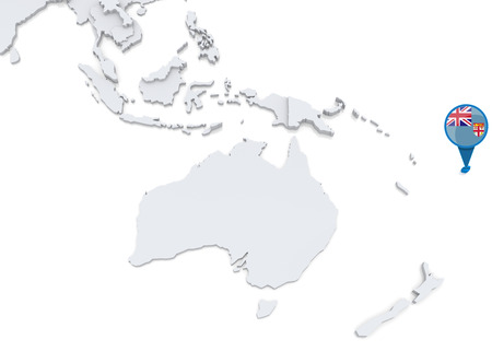 oceania: Highlighted Fiji on map of Oceania with national flag