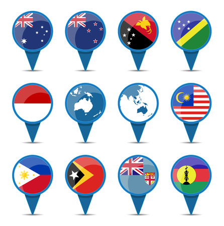 National flags of australia oceania in sign shape design