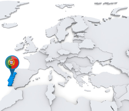 Highlighted Portugal on map of Europe with national flag