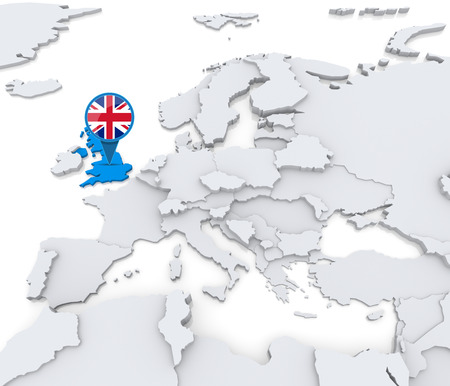 Highlighted United Kingdom on map of Europe with national flag