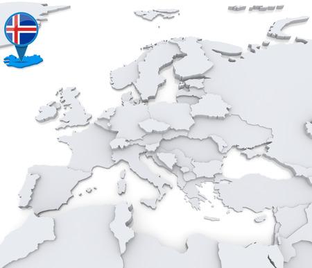 Destacado Islandia en el mapa de Europa con la bandera nacional Foto de archivo - 31206497