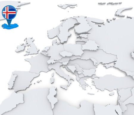 Highlighted Iceland on map of Europe with national flag