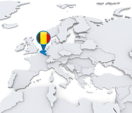 Highlighted Belgium on map of Europe with national flag