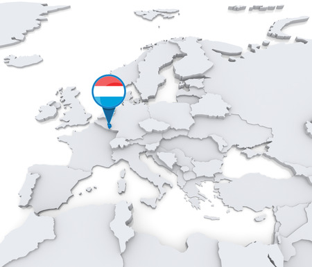Destaca Luxemburgo en el mapa de Europa con la bandera nacional Foto de archivo - 31206500