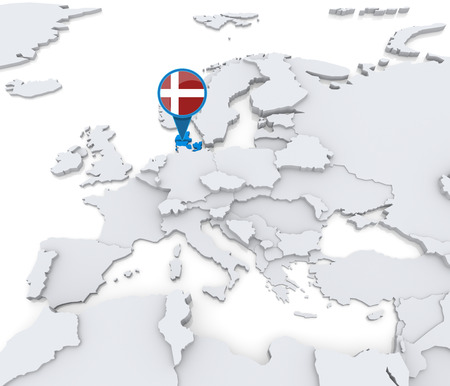 Highlighted Denmark on map of Europe with national flag