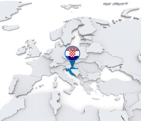 Destacado Croacia en el mapa de Europa con la bandera nacional Foto de archivo - 31206524