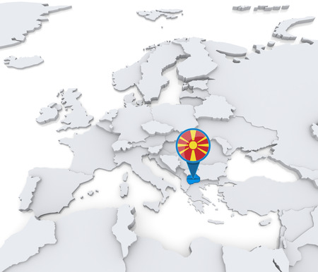 Highlighted Macedonia on map of Europe with national flag