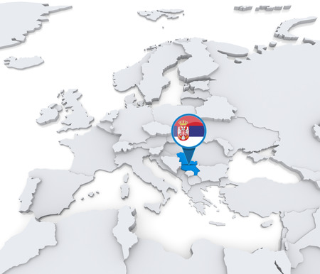 Highlighted Serbia on map of Europe with national flag Stock Photo