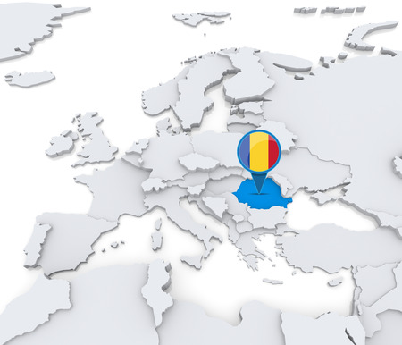 Highlighted Romania on map of Europe with national flag