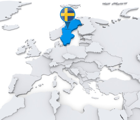 Highlighted Sweden on map of Europe with national flag Foto de archivo