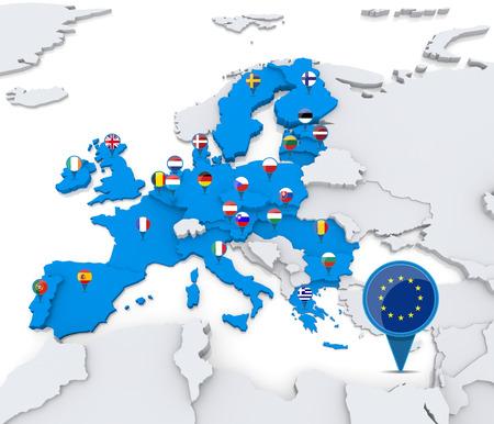 Estados europeos miembros de la unión en el mapa de Europa Foto de archivo - 31206550
