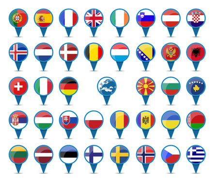 National flags of europe in sign shape design photo