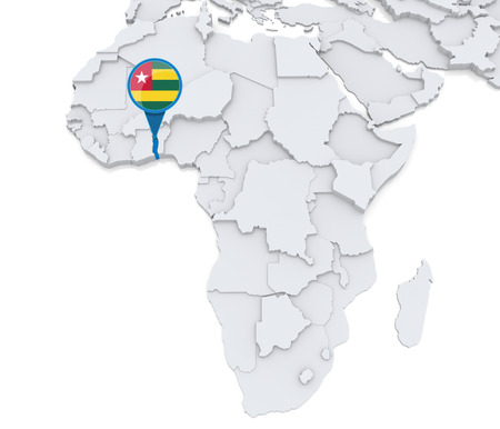 Highlighted Togo on map of Africa with national flag Foto de archivo