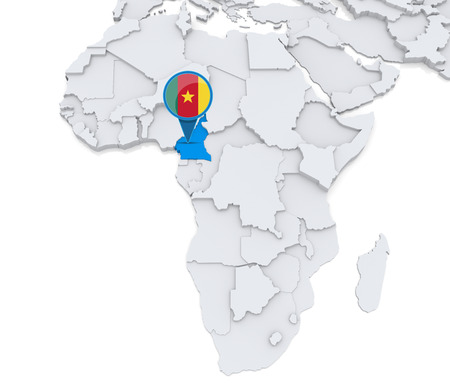 Highlighted Cameroon On Map Of Africa With National Flag Stock Photo ...