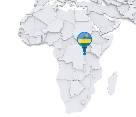 Highlighted Rwanda on map of Africa with national flag