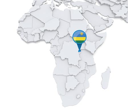 Destacado Ruanda en el mapa de África con la bandera nacional Foto de archivo - 32458082