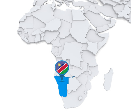 Highlighted Namibia on map of Africa with national flag