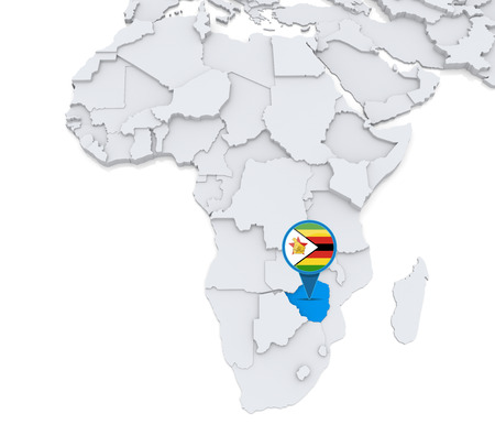 Highlighted Zimbabwe on map of Africa with national flag photo