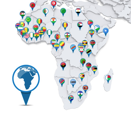 Map of Africa with national flags of states