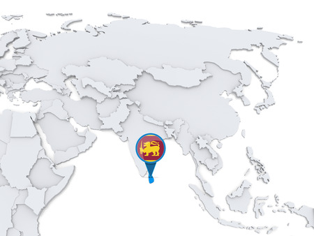 Highlighted Sri Lanka on map of Asia with national flag
