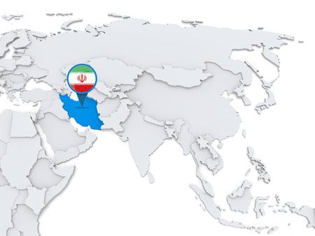 국기와 함께 아시아의지도에이란 강조 스톡 콘텐츠 - 34232305
