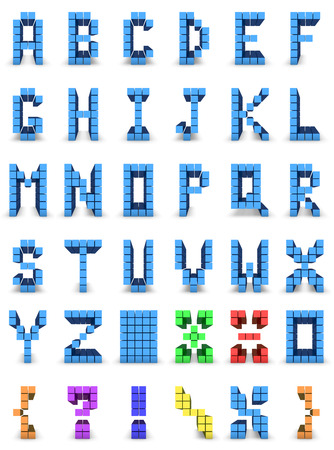 alphabet and set of signs in colored cube design