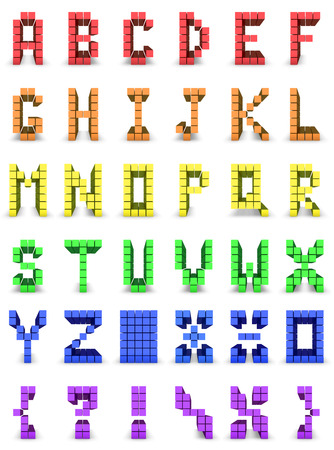 alphabet and set of signs in cube design made in colors of gay flag