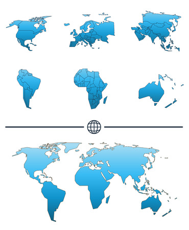 Blank map of the world with blue highlighted continent of europe 68570322 world map shape and separated continents with states tuned in blue color publicscrutiny Gallery