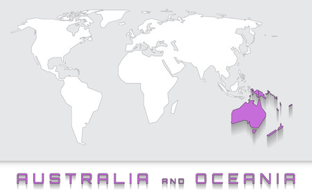 Blank map of the world with purple highlighted continent of blank map of the world with purple highlighted continent of australia and oceania stock vector gumiabroncs Images