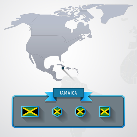 Jamaica On The Map Of North America With Flags Stock Photo, Picture ...