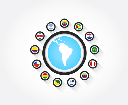 Set of south american flags in circle icon with the shape of south america