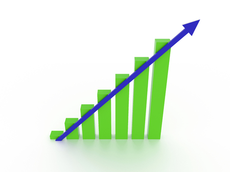 3d green chart with blue arrow heading up