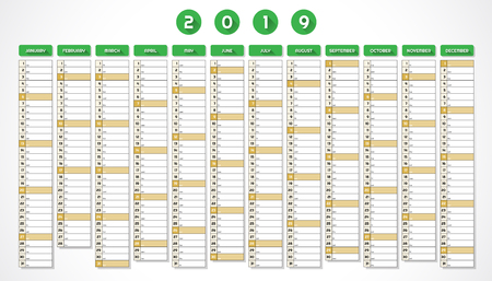 Calendar for year 2019 in one page green design Illustration