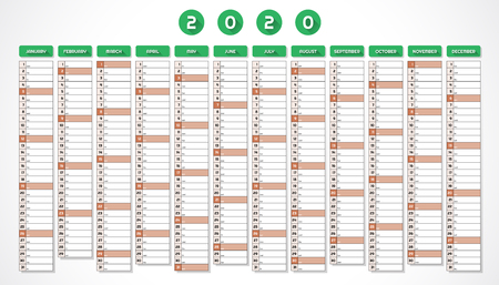 Calendar for year 2020 in one page red green design