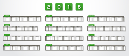 Calendar for year 2018 in one page green design