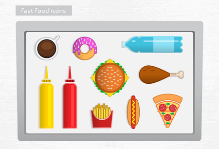Colored fast food icons on the white tray