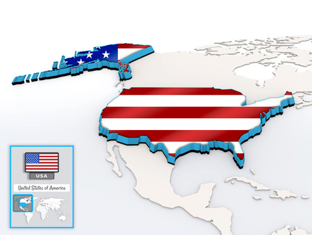 3D model of USA on the map with national flag and info card Stock Photo