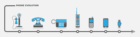 mobile communication: Vector set of phone icons in flat design Illustration