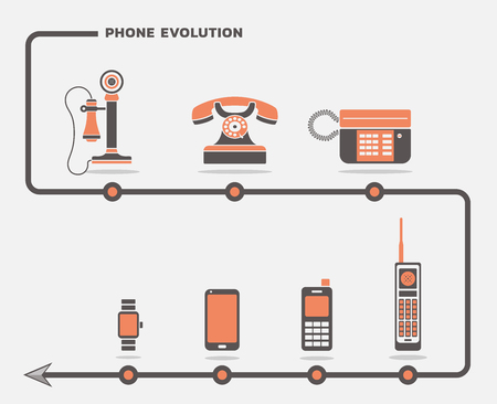 Vector set of phone icons in flat design Ilustração