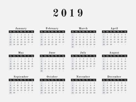 Calendario para el diseño de revista de ilustración de vector de año 2019 Foto de archivo - 90409970