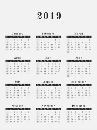 calendar for year 2019 vector illustration magazine design stock vector 90409971
