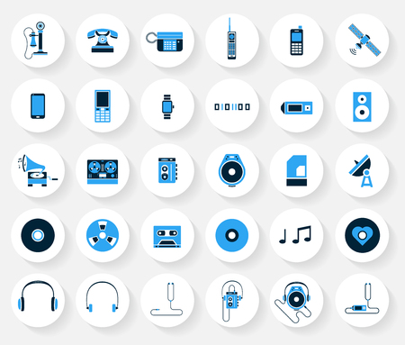 Set of communication and music icon in blue color.