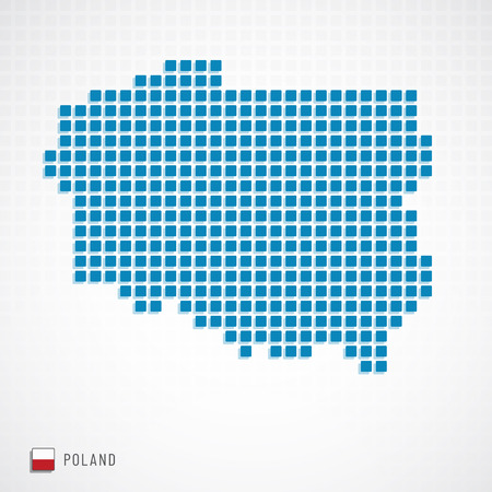 Vector illustration of Poland map from basic shape icons and flag