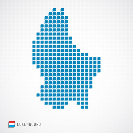 Vector illustration of Luxembourg map dotted basic shape icons and flag