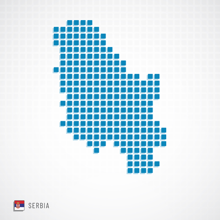 Vector illustration of Serbia map dotted basic shape icons and flag