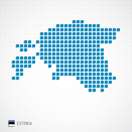 Vector illustration of Estonia map dotted basic shape icons and flag  イラスト・ベクター素材
